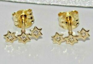 9ct Gold Diamond Fancy Star Stud Earrings - Solid 9K Gold