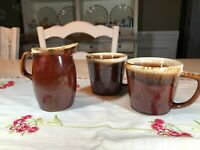Vintage McCoy Pottery Brown Drip Glaze 2 Mugs and Milk Pitcher