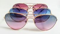 Aviator Sunglasses Colored Lenses Rhinestones Fashion Bling