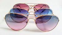 Aviator Sunglasses Colored Lenses Rhinestones Fashion Bling