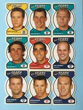 2005 AFL Select Tradition Footy Face Die Cut Lot Of 9 Cards Mint