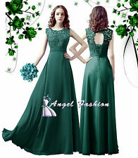 Chiffon Lace Long Wedding Bridesmaid Dresses Sleeves Sheath Maid of Honor Party Teal UK Size 18