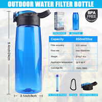 650ML Outdoor Cycling Water Filter Bottles Purifier Water Straw Emergency Tools