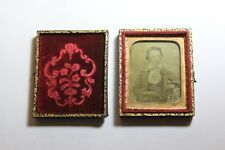Victorian folding book style leather photo frame felt child riding gloves horses