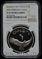 OMAN 1987 - WWF Series Verreaux's Eagle - 2½ Rials Silver Coin - NGC Proof 67 UC