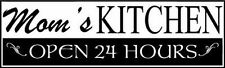 Mom's Kitchen Open 24 Vinyl Decal Sticker Wall Decor