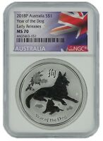 2018 Australia 1oz Silver Lunar Dog NGC MS70 Early Releases - Flag Label