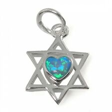 Star of David Necklace with Heart, Silver & Opal Stone Made In Israel , Judaica