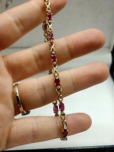 9ct Gold Beautiful Ruby & Diamond Bracelet FREE UK POSTAGE