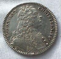 JETON ROYAL  EN ARGENT MASSIF LOUIS XV LE BIEN AIME 1739 TRESOR ROYAL