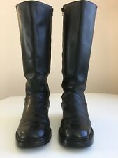 "RALPH LAUREN Women Black Leather Boots Size 9M Brazilian Zipper 2"" Block Heels"
