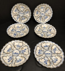 Antique Weimar Oyster Plates - Set of Six - Blue, White and Gold