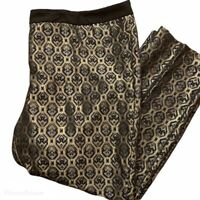 Vintage 80s 90s Women XL Pants Artsy Hipster Design Gold Black Shiny Extra Large
