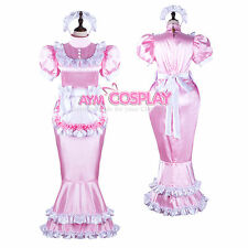 lockable Sissy maid Satin Dress fish tail hobble Skirt Tailor-Made [G2361]