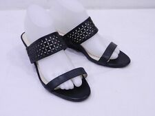 Used Cole Haan Womens 9.5 Black Perforated Leather Two Strap Wedge Slide Sandals