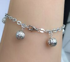 18k Solid White Gold Balls Charm Diamond Cut  Italy Bracelet, 4.81Grams. 7Inches