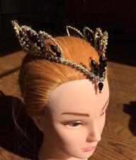 Professional Ballet Tiara Headpiece Gold AB Crystal Black Swan Odile Satanella