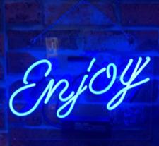 "New Enjoy Blue Neon Light Sign Lamp Acrylic 14"" Beer Pub Decor Glass Bar"