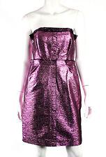 LANVIN $4,195 NWT Eté 2014 Metallic Pink Lurex Strapless Bustier Dress 40