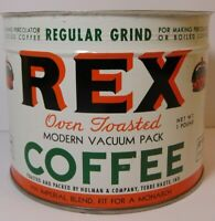 Vintage 1950s REX COFFEE GRAPHIC KEYWIND COFFEE TIN 1 POUND TERRE HAUTE INDIANA