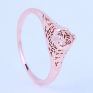 Lady 4mm Round 10K Rose Gold Diamond Classic Engagement Wedding Semi Mount Ring