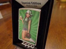 PINUP GIRL PLAY BALL BASEBALL SOFTBALL ZIPPO LIGHTER MINT IN BOX KEITH GARVEY