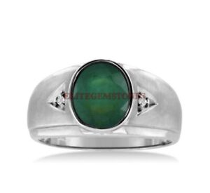Natural Green Onyx Gemstone with 925 Sterling Silver Ring for Men's EG1420
