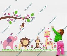 HUGE Jungle Animal Zoo Wall Stickers Nursery Girls Children Bedroom Decals Art