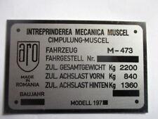 Placa IDENTIFICADORA ( GAZ 69 licencia) PANEL ABOLLADURAS DE ÉPOCA ARO m-473 s39
