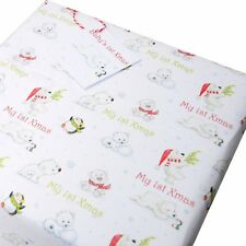 Baby 1st Christmas Wrapping Paper for Gifts & Presents 4 Sheets ,Tags Polar Bear
