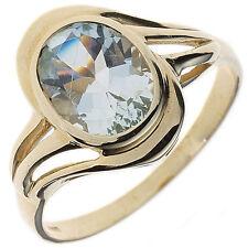 Echte Edelstein-Ringe aus Gelbgold mit Aquamarin für Damen