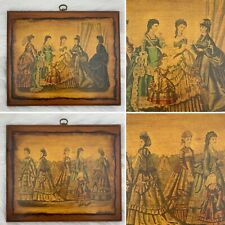 Vintage Decoupage Wood Wall Art Kimmel Forster NY Godeys Fashions For 1870 March