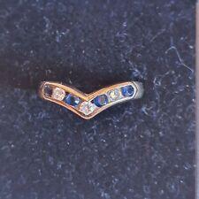 9ct Gold Sapphire and Diamond Wishbone Ring