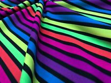 2 yd Neon and Black Stripes 4 Way Stretch Nylon Lycra Spandex By Yard