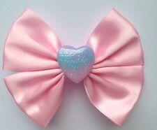 Pastel Pink Fairy Kei Hair Bow Kawaii Resin Heart