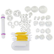 46Pcs Fondant Sugarcraft Cake Decorating Icing Plunger Cutters Tools Mold Mould