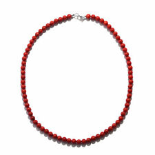 "Women's 925 Sterling Silver Red Coral Beaded Bead Necklace Jewelry 18"" Ctw 100"