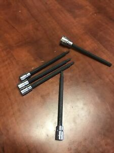 "NEW Craftsman 5-Pc Piece Long Shank Star Bit Socket Accessory Set 1/4-3/8"" Drive"