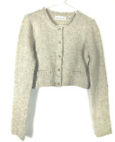 Anthropologie Charlie & Robin Beige Wool Angora Cropped Cardigan Sweater Sz M