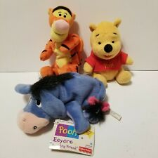 Fisher Price Winnie the Pooh Beanbag Friends Pooh Tigger Eeyore Plush One w/Tags