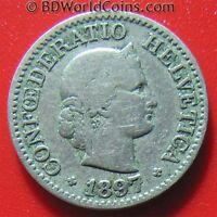 SWITZERLAND 1897 B 10 RAPPEN SWISS COLLECTABLE EUROPEAN WORLD COIN 19mm Cu-Ni
