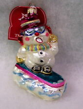 New Slavic Treasures Glass Ornament - Ice Slice (Hot Pink) Snowman 2002