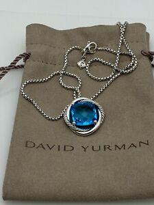 "David Yurman Sterling Silver 925 14mm Infinity Blue Topaz Pendant Necklace 18"""