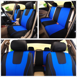1 Set Blue Seat Protect Cover Full Set Washable Universal Fit For Standard Car