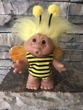 "Dam Troll Doll! 5"" Yellow Hair Amber Eyes! Dressed As A Bumblebee! 2005!"