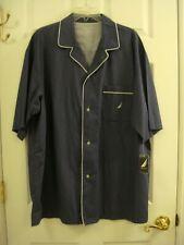 Nautica Sleepwear Men's Button Short Sleeve Navy Blue Cotton Size XL NEW