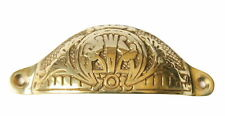 Solid Brass Arts & Crafts Drawer Pull – Cabinet Door Cupboard Cup Handle 110mm