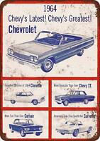"1964 Chevrolet Automobiles Vintage Retro Metal Sign 8"" x 12"""