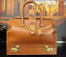 "GUCCI Italy 15"" Compact Tan Brown Leather Travel Doctor Duffle Suitcase Mens Bag"