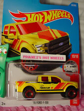 2017 i Hot Wheels '15 FORD F-150 #65✰Yellow truck;Red RIM✰HW RESCUE✰Case C/D